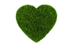 Grassy Heart Isolated Royalty Free Stock Photography