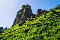 Grassy hill, cave city Royalty Free Stock Image