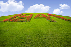 Grassy hill with number 1941 Royalty Free Stock Photos