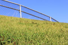 Grassy Hill with soft focus fence Stock Image