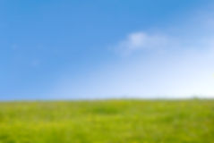 Grassy Hill in Springtime with Blue Sky - Background Blur Royalty Free Stock Photo
