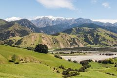 Grassy hills above Clarence river valley in springtime, New Zealand. Grassy hills above Clarence river valley in springtime, South Island, New Zealand Royalty Free Stock Photography