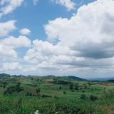 Grassy hills and with few trees and cumulus clouds on blue sky at Nasugbu, Batangas, Philippines. Processed with VSCO with a6 preset stock photo