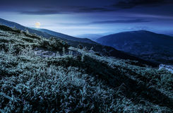 Grassy hillside in Carpathian mountains at night. Grassy meadow on hillside of mountain ridge at night in full moon light. wonderful Carpathian landscape Stock Images