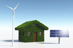 Grassy house with clean energy Stock Photos