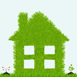 Grassy house with plants. Ecology Royalty Free Stock Image