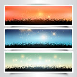 Grassy landscape banners Stock Images