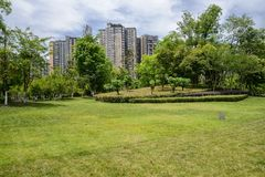 Grassy lawn before modern buildings in cloudy summer afternoon Stock Photography