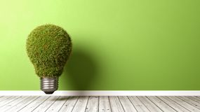 Grassy Light Bulb on Wooden Floor. Against Green Wall with Copyspace 3D Illustration Stock Photo