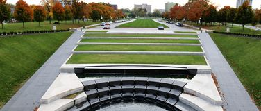 Grassy Mall with Fall colors. Memorial Mall with fall colors from World War I memorial Royalty Free Stock Image