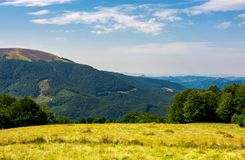 Grassy meadow on top of a hill. Beautiful summer landscape with high mountain in the distance Royalty Free Stock Photos