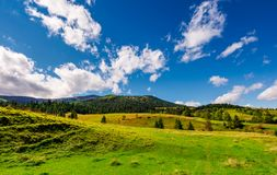 Grassy meadows and forested hills. Beautiful landscape with mountain ridge in the distance under the azure sky with gorgeous cloudscape Royalty Free Stock Image