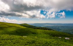Grassy meadows of Runa mountain. Beautiful summer landscape on a cloudy day royalty free stock photos