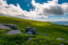 Grassy meadows of Runa mountain. Beautiful summer landscape on a cloudy day royalty free stock photography
