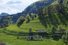 Grassy meadows at village of Sorica Stock Photos