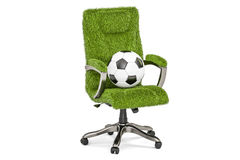 Grassy office chair with soccer ball concept, 3D rendering Royalty Free Stock Images