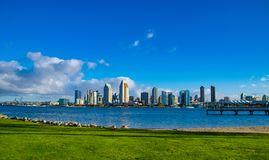 Grassy Park Across from the San Diego Skyline. This grassy park is next to the ferry landing on Coronado Island royalty free stock photography