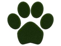 Grassy paw on white background.  digital illustration. 3d rendering. Graphic image with grass Stock Photography
