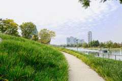 Grassy pedestrian footway on water-shore in cloudy winter aftern Stock Images