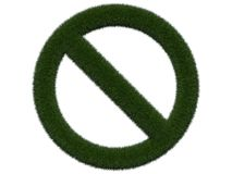 Grassy prohibition sign on white background. Isolated digital illustration. 3d rendering. Isolated graphic image with grass Royalty Free Stock Images