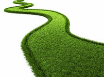 Grassy Road. Isolated on white background, 3d render Royalty Free Stock Photo