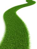 Grassy road. 3d grassy road isolated on white Stock Photo