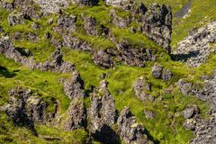 Grassy and Rocky terrain stock image