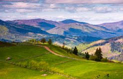Grassy rural fields in mountainous area. Beautiful countryside landscape under the cloudy sky Royalty Free Stock Photos