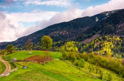 Grassy rural hill in mountains Stock Photos