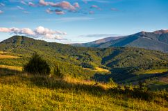 Grassy rural hillside at cloudy sunset. Beautiful mountainous countryside in autumn Stock Images