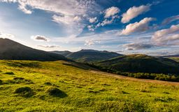 Grassy rural hillside at cloudy sunset. Beautiful mountainous countryside in autumn Royalty Free Stock Photography