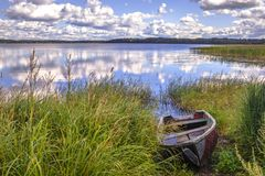 The grassy shore of the lake with an old wooden boat royalty free stock image