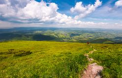 Grassy slope of Pikui mountain in summer time. Beautiful landscape of Carpathian mountains. Valley with rolling hill view from above Royalty Free Stock Images