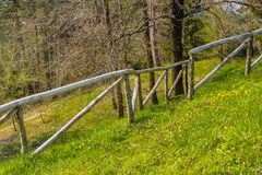 Grassy slope and wooden fence Royalty Free Stock Image