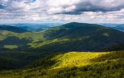 Grassy slopes of Carpathian mountains. Beautiful summer landscape on a cloudy day. location Runa mountain, Ukraine Stock Image
