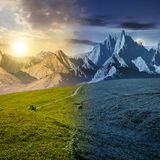 Grassy slopes and rocky peaks time concept. Day and night time change concept. grassy slopes and rocky peaks composite. gorgeous summer landscape with Stock Photos