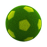 Grassy Soccerball. Green Grassy Soccerball  on White Background 3D Illustration Royalty Free Stock Photography