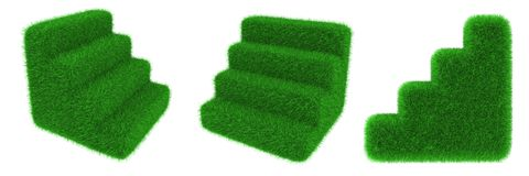 Grassy stairs object Royalty Free Stock Image