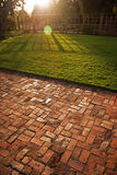 Grassy Sunset. With bricks leading into the shady grass area Royalty Free Stock Image