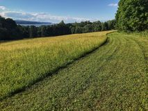 Grassy trail overlooking the Hudson River Stock Photos