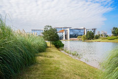 Grassy waterside near modern building in cloudy winter afternoon Royalty Free Stock Photography