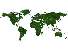 Grassy World Map. World Map Textured by Grass Isolated on White Royalty Free Stock Photography