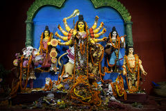 A grat Bengali Utsav - Durga Pooja-2015. Every year the idols of Durga Mata is being established during Navratri - Durgotsab at Kolkata where you will find Stock Photography
