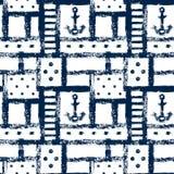 Grata di lerciume nautico, bande, ancore e punti geometrici modello senza cuciture, vettore Fotografia Stock