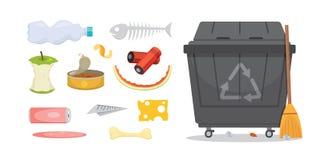 Grata i śmieci ustalone ilustracje w kreskówce projektują Biodegradable, klingeryt i śmietnik ikony, royalty ilustracja