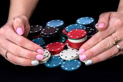 grate hands and poker chips Stock Photography