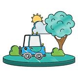 Grated agrimotor car in the city with tree and sun. Vector illustration Royalty Free Stock Photo