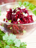 Grated beetroot with garlic Stock Photo