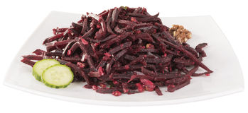 Grated beetroot in a white dish Stock Photography