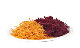 Grated beets and carrots Royalty Free Stock Images